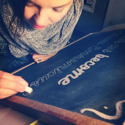 Preparing chalk art