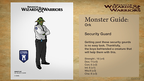Monster Guide Page 2: Orc Security. Ink and digital Painting. By Cory Hamel ( Art Director)