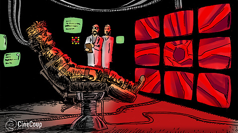 The Lab: The lab, where scientists experiment on a homeless man, forcing him to play an intense computer simulation... with deadly results. Concept art by John F. Morrison.