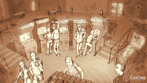 The Arcade: The local video arcade was the coolest hangout in the '80s. We'll need to either secure the rights to actual vintage games and rent refurbished machines, or make a deal with retro-style game designers to use their games, and design and build machines to house them. Concept art by James Loucks.